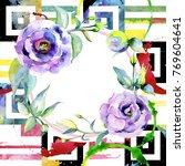 wildflower eustoma flower frame ... | Shutterstock . vector #769604641