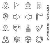 thin line icon set   pointer ... | Shutterstock .eps vector #769605265