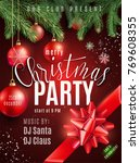 christmas party poster with... | Shutterstock .eps vector #769608355