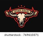 bull skull emblem  logo on a... | Shutterstock .eps vector #769610371