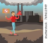 man protesting standing on air... | Shutterstock .eps vector #769611949