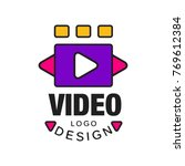 colorful video logo template... | Shutterstock .eps vector #769612384
