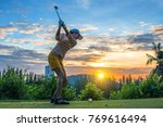 woman golf player in action of... | Shutterstock . vector #769616494