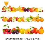 three fruit design borders...   Shutterstock .eps vector #76961746