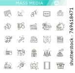tv and media news vector icons...   Shutterstock .eps vector #769618471