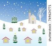 czech winter village with...   Shutterstock .eps vector #769624771