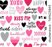 seamless pattern of heart and... | Shutterstock .eps vector #769625845