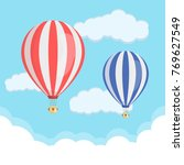 red and blue hot air balloon... | Shutterstock .eps vector #769627549
