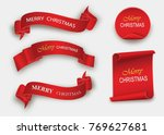 scroll red  merry christmas ... | Shutterstock .eps vector #769627681