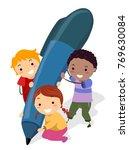 illustration of stickman kids... | Shutterstock .eps vector #769630084