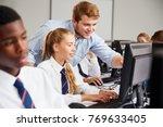 teenage students wearing... | Shutterstock . vector #769633405