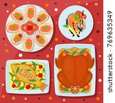 holiday dishes. sandwiches with ... | Shutterstock .eps vector #769635349