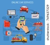 online car service and... | Shutterstock .eps vector #769637329