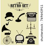 retro objects icons collection... | Shutterstock .eps vector #769643911