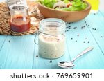 glass jar with ranch salad... | Shutterstock . vector #769659901