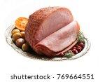 Holiday Ham Isolated On White ...