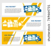 silhouette of parcel on board...   Shutterstock .eps vector #769664731