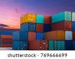 industrial container yard for... | Shutterstock . vector #769666699