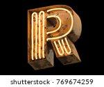 metallic orange neon font... | Shutterstock . vector #769674259