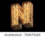 metallic orange neon font... | Shutterstock . vector #769674265