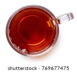 glass cup of black tea isolated ... | Shutterstock . vector #769677475