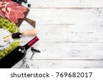 red wine  grape  cheese... | Shutterstock . vector #769682017