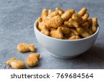 Salted Fish Crackers In A Bowl.