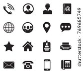 Contact Icons. Black Flat...