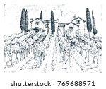 rustic vineyard. rural... | Shutterstock .eps vector #769688971