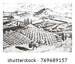 rustic vineyard. rural... | Shutterstock .eps vector #769689157