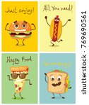 cartoon cards with funny food... | Shutterstock .eps vector #769690561