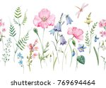 Stock photo watercolor floral pattern delicate flower wallpaper wildflowers pink pink poppy snowdrop 769694464