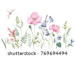 watercolor banner with wild... | Shutterstock . vector #769694494
