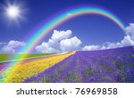 Flower Field And Blue Sky With...
