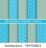 set of seamless line patterns.... | Shutterstock .eps vector #769703821