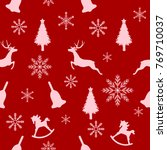 christmas seamless pattern ... | Shutterstock .eps vector #769710037