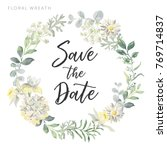 Wedding wreath Save the date. White flowers and gray green leaves. Watercolor vector illustration. Summer greenery.