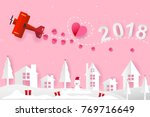 helicopter and heart on the sky ...   Shutterstock .eps vector #769716649