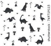 vector dinosaur pattern. dino... | Shutterstock .eps vector #769719115