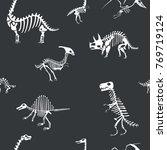 vector dinosaur skeleton... | Shutterstock .eps vector #769719124