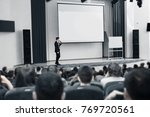 speaker conducts the business... | Shutterstock . vector #769720561