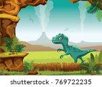 cartoon prehistoric landscape... | Shutterstock .eps vector #769722235