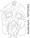 nativity scene doodle of joseph ... | Shutterstock .eps vector #769722361