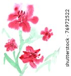 watercolor red flowers are on... | Shutterstock . vector #76972522