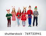 happy children singing... | Shutterstock . vector #769733941