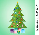 christmas tree with toys and... | Shutterstock . vector #769734301