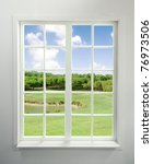 modern residential window with... | Shutterstock . vector #76973506