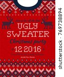 ugly sweater merry christmas... | Shutterstock .eps vector #769738894