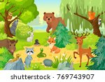 group of wild animals on the... | Shutterstock .eps vector #769743907