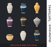 set of isolated icons of urns... | Shutterstock .eps vector #769754941